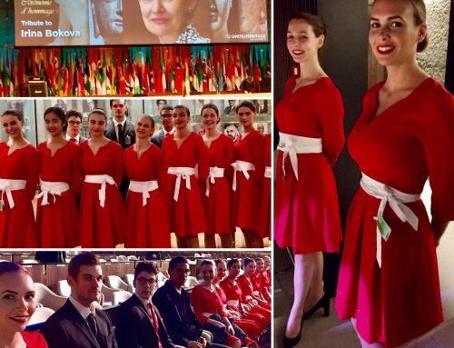Agence d'hôtesses Paris:  Agence ELEGANCE Hôtesses à l'UNESCO Cérémonie d'hommage Madame BOKOVA