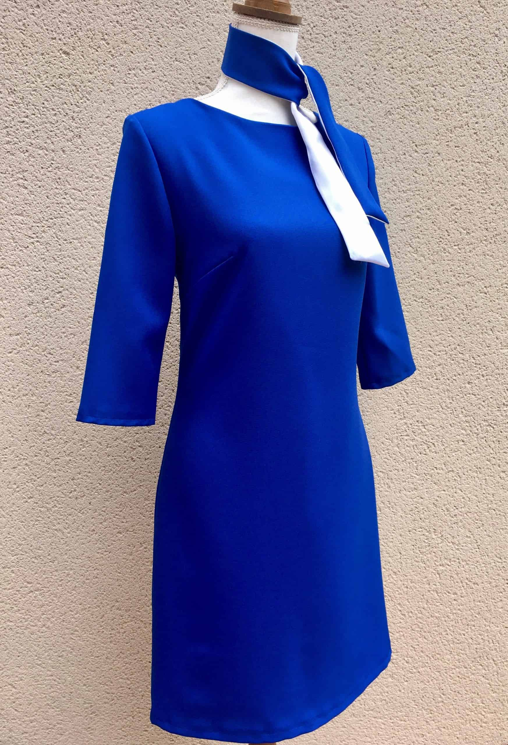 22. Robe droite Bleu Royal foulard bicolore Bleu Royal Blanc.jpg